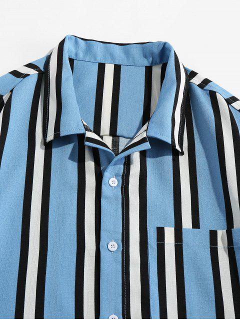 fashion Vertical Striped Pocket Button Up Shirt - LIGHT BLUE S Mobile