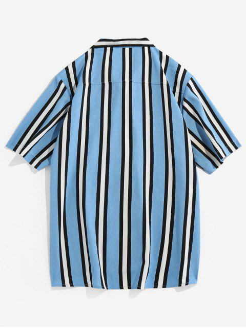 chic Vertical Striped Pocket Button Up Shirt - LIGHT BLUE M Mobile