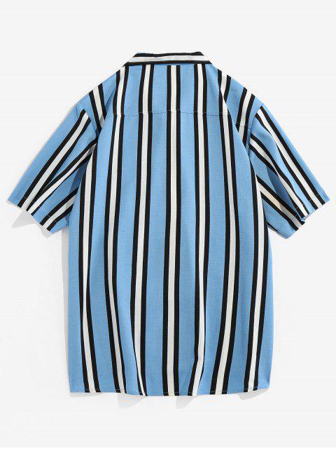 fancy Vertical Striped Pocket Button Up Shirt - LIGHT BLUE L Mobile