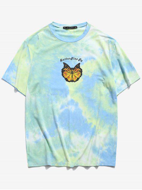 Camiseta con Estampado deTieDyecon Mangas Cortas - Verde claro 2XL Mobile