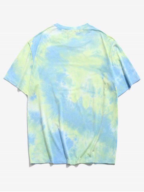 Butterfly Tie Dye Print Short Sleeve T-shirt - اخضر فاتح 2XL Mobile