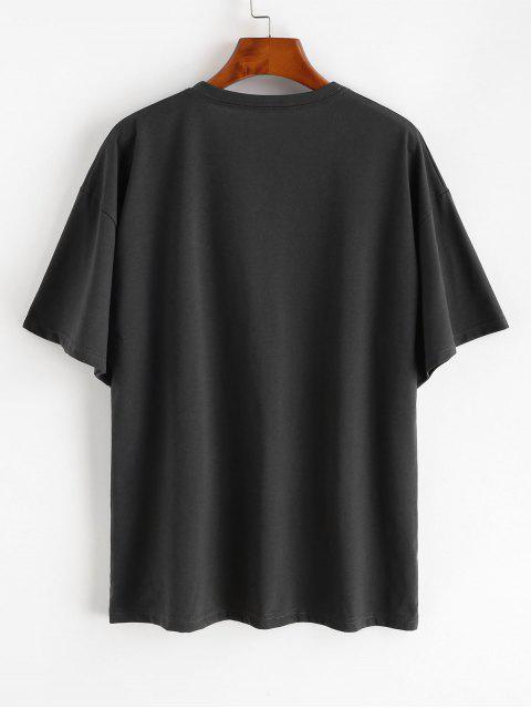 Fallschulter Buchstabedruck Tunika T-Shirt - Grau Eine Größe Mobile
