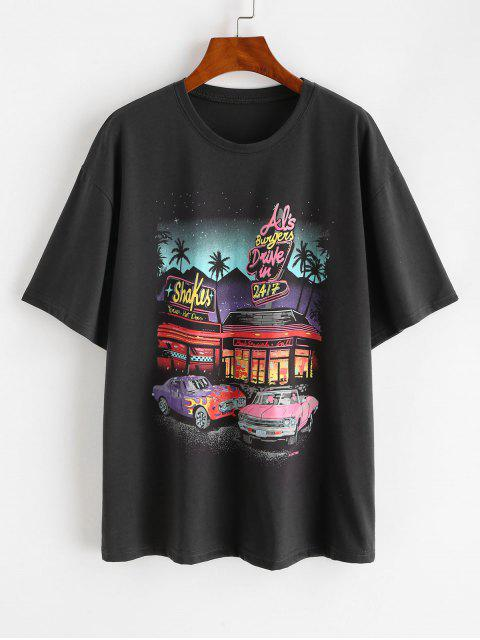 new Drop Shoulder Letter Car Print Tunic T-shirt - GRAY ONE SIZE Mobile