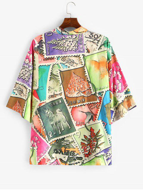 latest Animal Patchwork Print Open Front Kimono Cardigan - MULTI-A 2XL Mobile