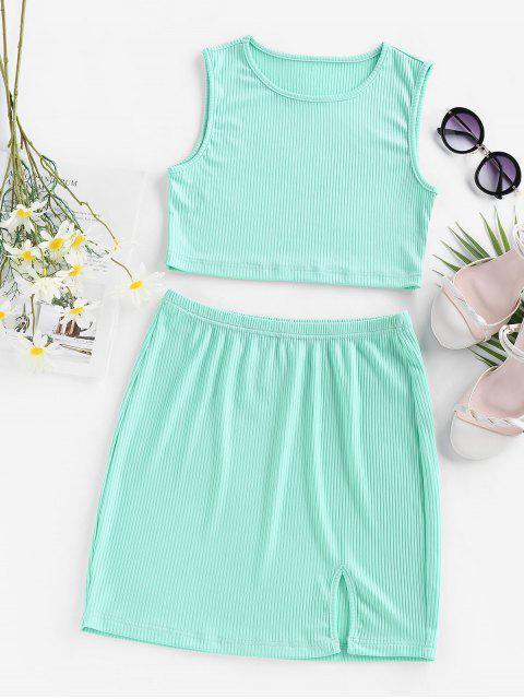 ladies ZAFUL Ribbed Slit Bodycon Skirt Set - LIGHT BLUE M Mobile