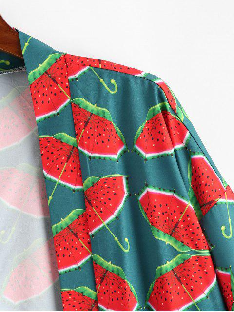 ladies Watermelon Umbrella Print Open Front Kimono Cardigan - MULTI-A M Mobile