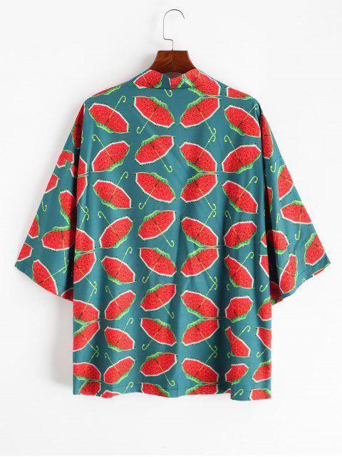 online Watermelon Umbrella Print Open Front Kimono Cardigan - MULTI-A 2XL Mobile