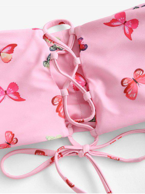 unique ZAFUL Butterfly Print Lace Up Bandeau Bikini Swimwear - LIGHT PINK S Mobile