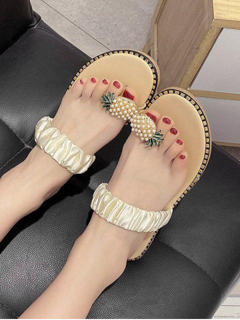 fancy Pineapple Toe Ring Flat Slides - BEIGE EU 40 Mobile