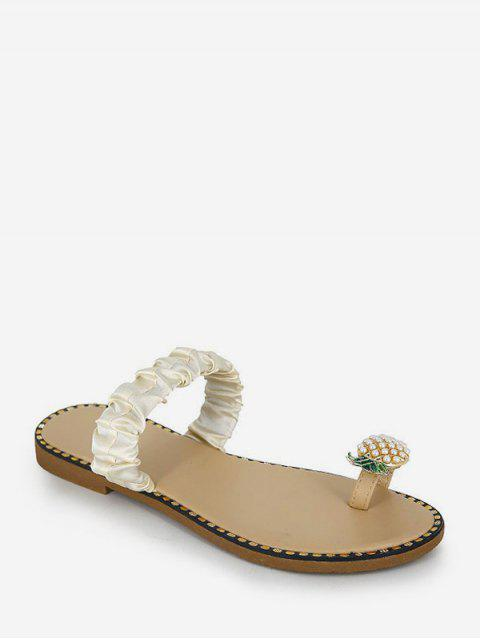 chic Pineapple Toe Ring Flat Slides - BEIGE EU 39 Mobile