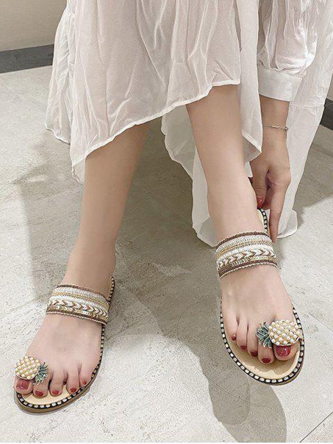 unique Pineapple Toe Ring Faux Pearl Slides Sandals - BEIGE EU 39 Mobile