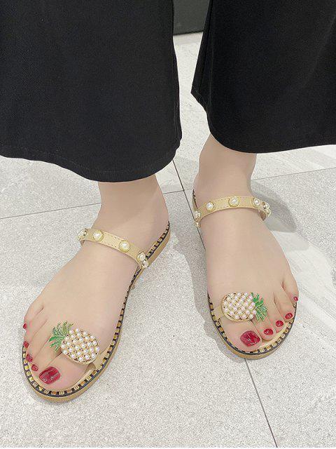 fashion Toe Loop Pineapple Faux Pearl Slides Sandals - BEIGE EU 39 Mobile