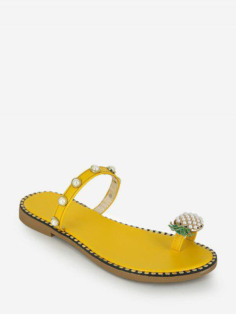 Toe Loop Pineapple Faux Pearl Slides Sandals - الأصفر الاتحاد الأوروبي 40 Mobile