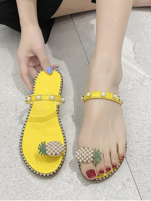 latest Toe Loop Pineapple Faux Pearl Slides Sandals - YELLOW EU 40 Mobile