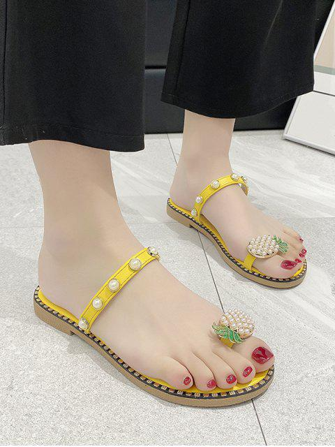 Toe Loop Pineapple Faux Pearl Slides Sandals - Gelb EU 39 Mobile