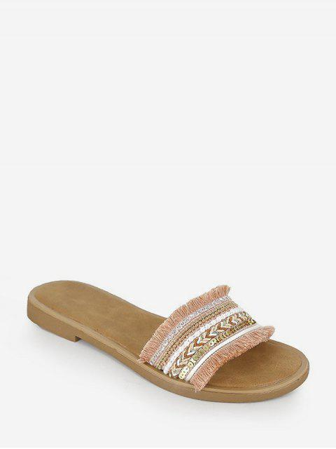new Fringe Trim Sequins Panel Flat Slides - LIGHT PINK EU 40 Mobile