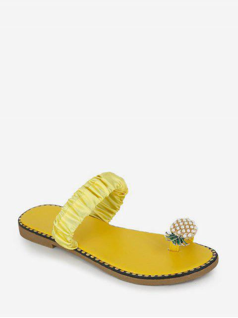women Pineapple Toe Ring Flat Slides - BEE YELLOW EU 40 Mobile