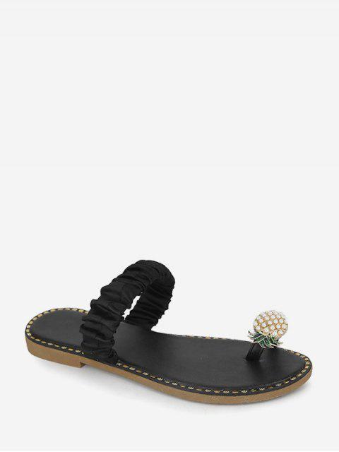 Pineapple Toe Ring Flat Slides - أسود الاتحاد الأوروبي 40 Mobile