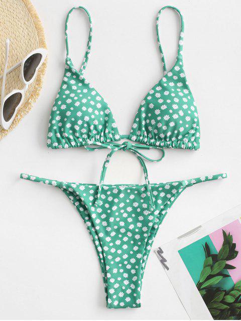 shop ZAFUL Ditsy Print String Bikini Swimsuit - LIGHT GREEN M Mobile