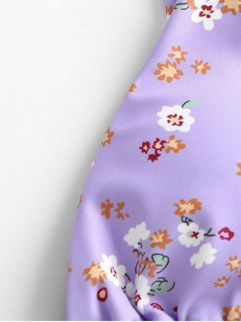 new ZAFUL Ditsy Print String Bikini Swimsuit - LIGHT PURPLE S Mobile