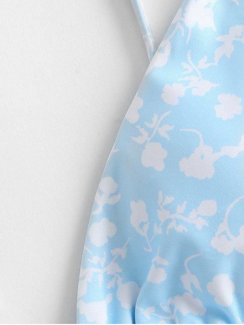 ZAFUL Bikini con Stampa a Fiorellini - Azzurro S Mobile