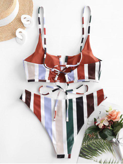 Bikini de Rayas Reversible con Cable en V de ZAFUL - Color rojo oscuro S Mobile