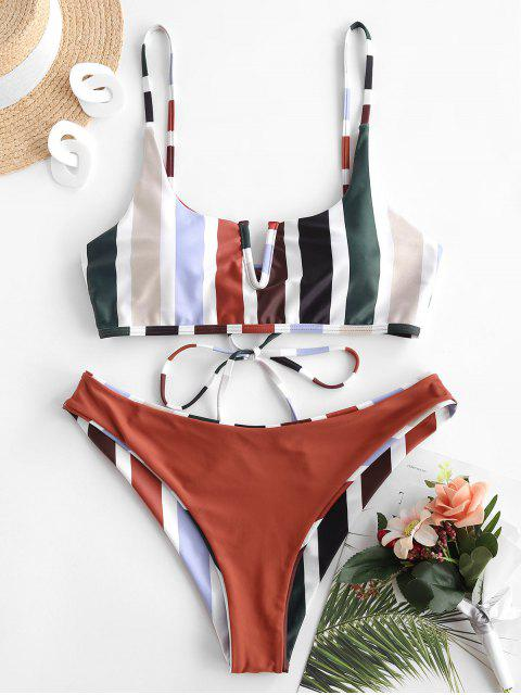 shop ZAFUL V-wired Reversible Striped Bikini Set - DEEP RED S Mobile
