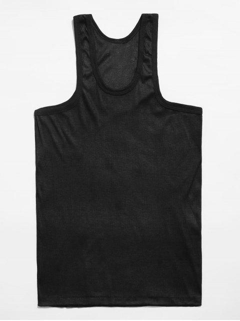Solid Rib-knit Casual Tank Top - أسود 3XL Mobile