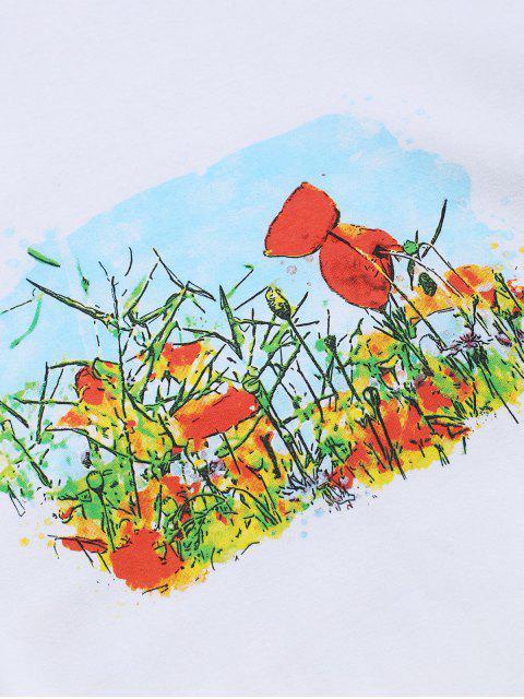 Camiseta Cuello Redondo Estampado Bordado Floral - Blanco S Mobile