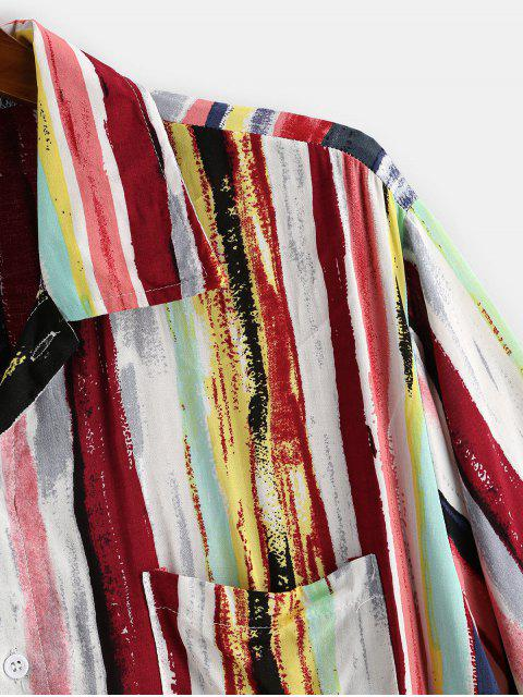 hot Colorful Striped Print Curved Hem Pocket Shirt - DEEP RED L Mobile