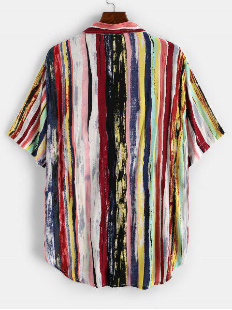 outfit Colorful Striped Print Curved Hem Pocket Shirt - DEEP RED XL Mobile