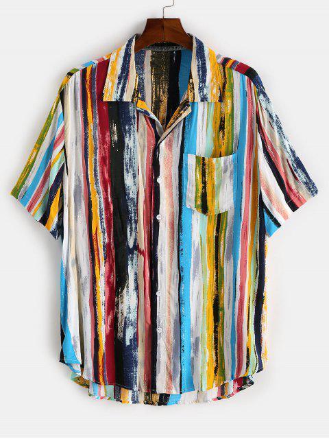 ladies Colorful Striped Print Curved Hem Pocket Shirt - LIGHT BLUE L Mobile
