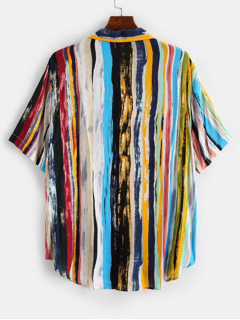 best Colorful Striped Print Curved Hem Pocket Shirt - LIGHT BLUE 2XL Mobile