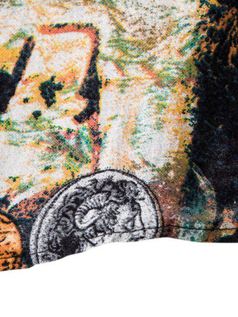 ladies Tribal Coin Pattern Print Button Up Shirt - MULTI-C 4XL Mobile