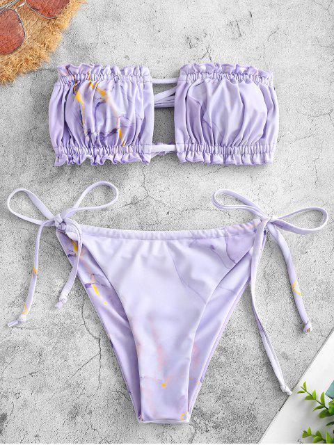 women's ZAFUL Tie Back Marble Print Bandeau Bikini Swimwear - LIGHT PURPLE S Mobile