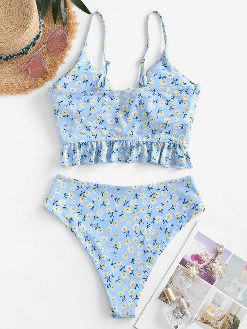 shops ZAFUL Ditsy Floral Lace Up High Cut Tankini Swimwear - LIGHT BLUE M Mobile
