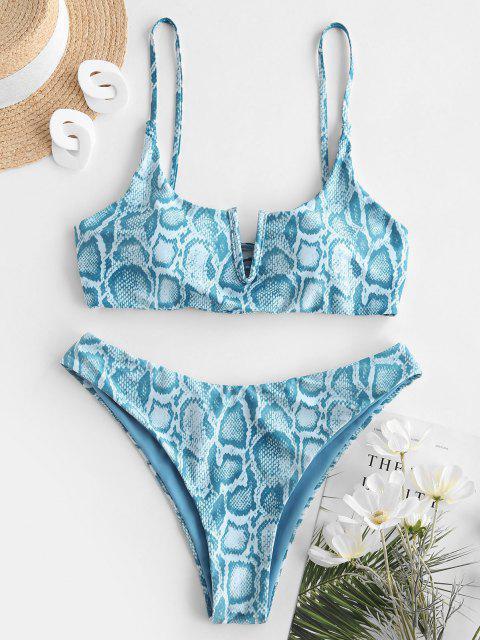 ZAFUL Conjunto de Bikini Reversible con Estampado de Animal - Azul claro S Mobile