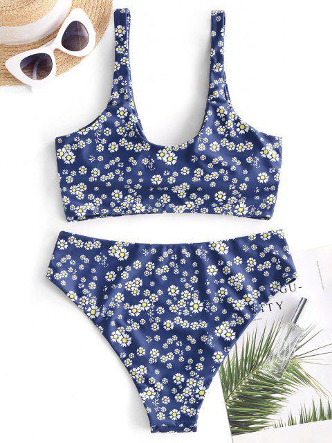 ZAFUL Verknoteter Blumen Schlüsselloch Tankini Badebekleidung - Tiefes Blau S Mobile