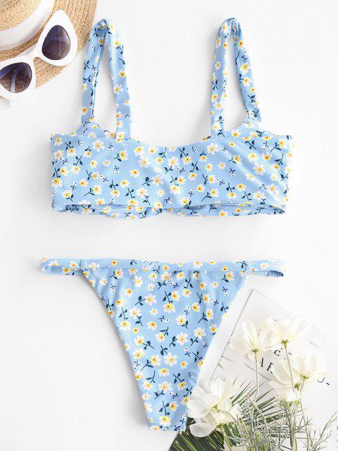 womens ZAFUL Ditsy Print Ruched Tanga Bikini Swimwear - LIGHT BLUE S Mobile
