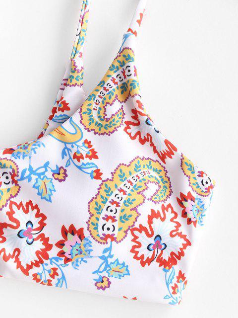 best ZAFUL Paisley Print Tie Bralette Bikini Swimwear - WHITE S Mobile