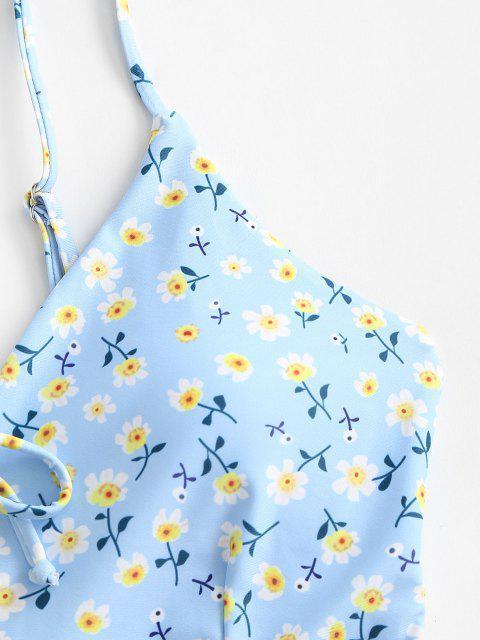 Bikini in Peplo a Fiorellini con Lacci di ZAFUL - Azzurro M Mobile