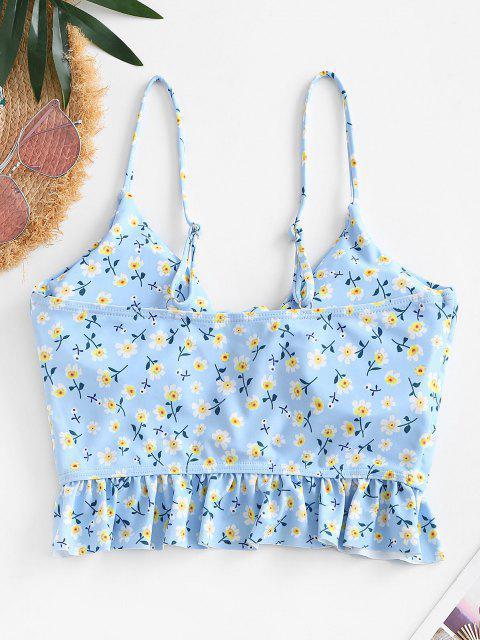 women ZAFUL Lace Up Peplum Hem Ditsy Floral Swim Top - LIGHT BLUE XL Mobile