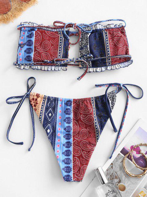 women's ZAFUL Ethnic Print Tie Bandeau Frilled Bikini Swimwear - MULTI-A L Mobile