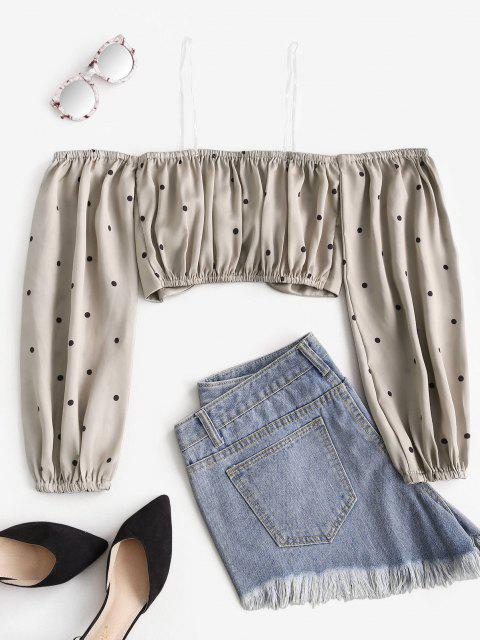 fashion Polka Dot Heart Ring Crop Blouse - LIGHT COFFEE S Mobile