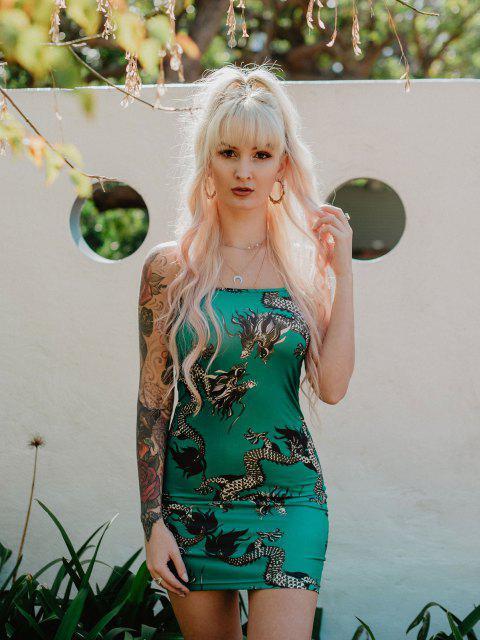 outfits Dragon Print Oriental Cami Mini Dress - LIGHT SEA GREEN M Mobile