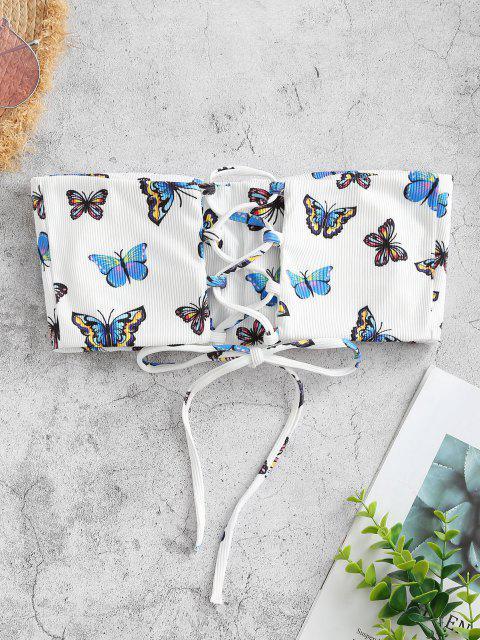 shop ZAFUL Ribbed Butterfly Print Lace Up Bandeau Bikini Top - WHITE L Mobile
