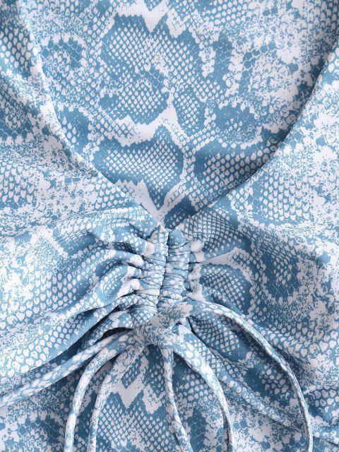 ZAFUL Maillot de Bain Sanglé Serpent Imprimé Deux Pièces - Bleu clair L Mobile