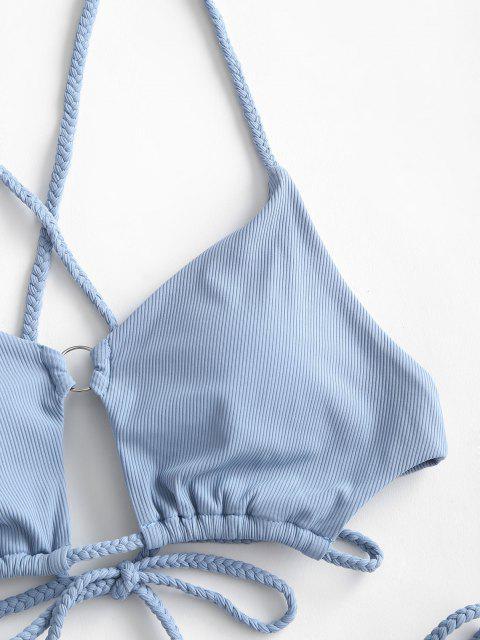 hot ZAFUL Only Mist O-ring Ribbed Tanga Bikini Swimwear - LIGHT BLUE M Mobile