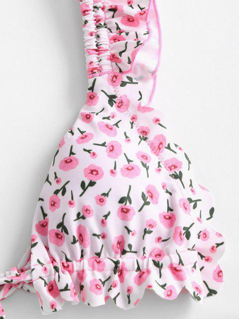 women's ZAFUL Floral Ruffle High Leg Bikini Swimwear - LIGHT PINK L Mobile