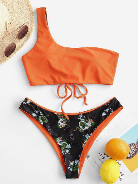 women ZAFUL Oriental Dragon Print One Shoulder Reversible Bikini Swimwear - ORANGE L Mobile